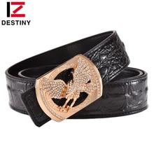 DESTINY Men Belt Luxury Famous Brand Designer Belts Male Genuine Leather Strap Waist Fashion Crocodile Eagle Gold Silver Wedding