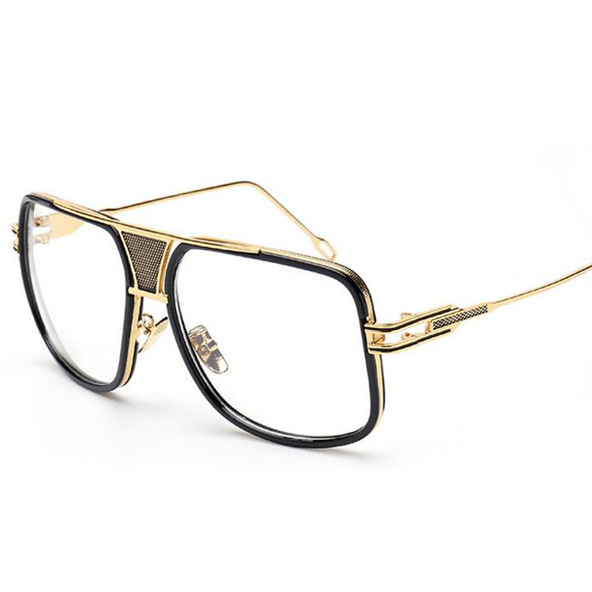 High Quality Big Frame Women Eyeglass Frame 2016 Men Alloy Frame Eyeglasses Clear lens Popular