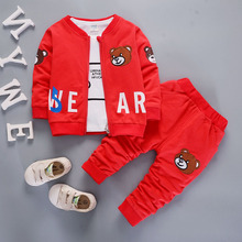 DIIMUU Hot Fashion Baby Boys Girls Clothes Toddler Children Clothing Zipper Coats Cartoon Cotton Tops Pants Casual Sports Outfit