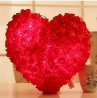 Rosa Amor Regalo de San Valentín Que Brilla Intensamente LED Luz Luminosa Mano De Felpa Almohada Cojines de Algodón PPT 2017 Nueva Venta Caliente FGB-13