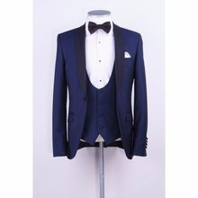 Latest Coat Pants Designs Navy Blue Groom Tuxedo Black Shawl Lapel Blazer 3 Piece Wedding Prom Suits For Men Groomsman Wear(China)