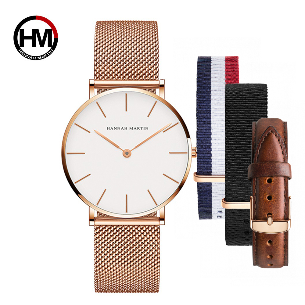 Dropship Women Watch Japan Quartz Design Waterproof Rose Gold Stainless Steel Mesh 1 Set 3psc Band Lady Watches Relogio Feminino