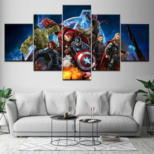 Movie superhero the Avengers wall Art Kids room Bedroom Living Room Home Decor HD Mural Poster 5 Piece Canvas Painting Picture