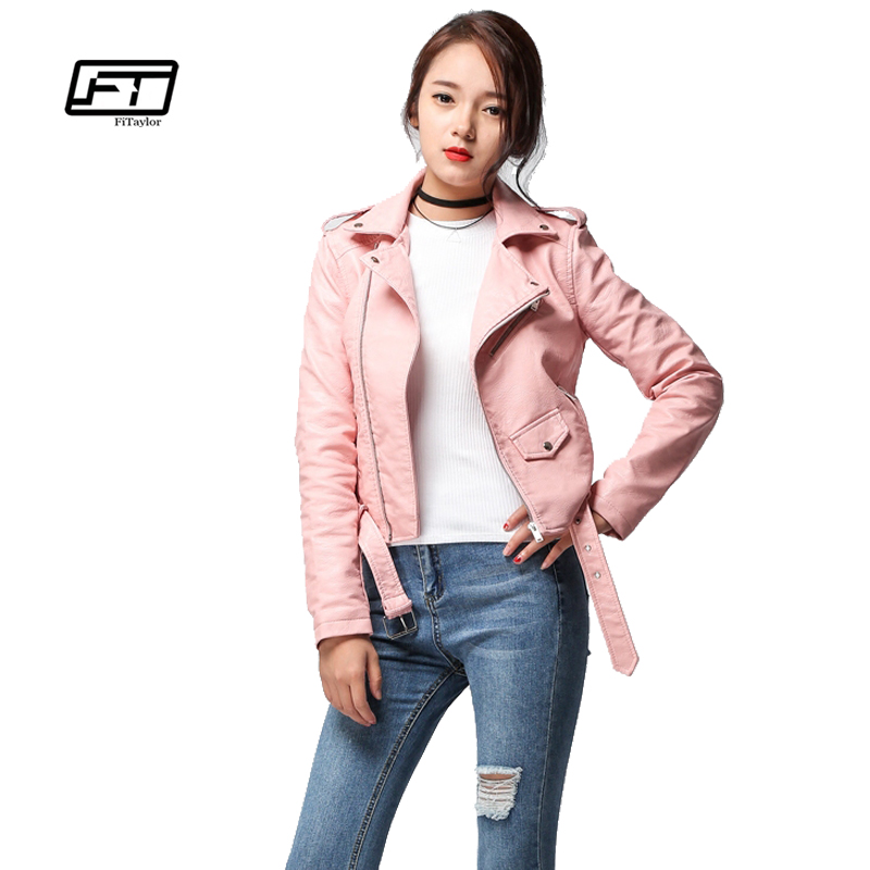 Fitaylor 2017 Spring Autumn Women Faux Soft Leather Jacket Long Sleeve Pink Biker Coat Zipper Design