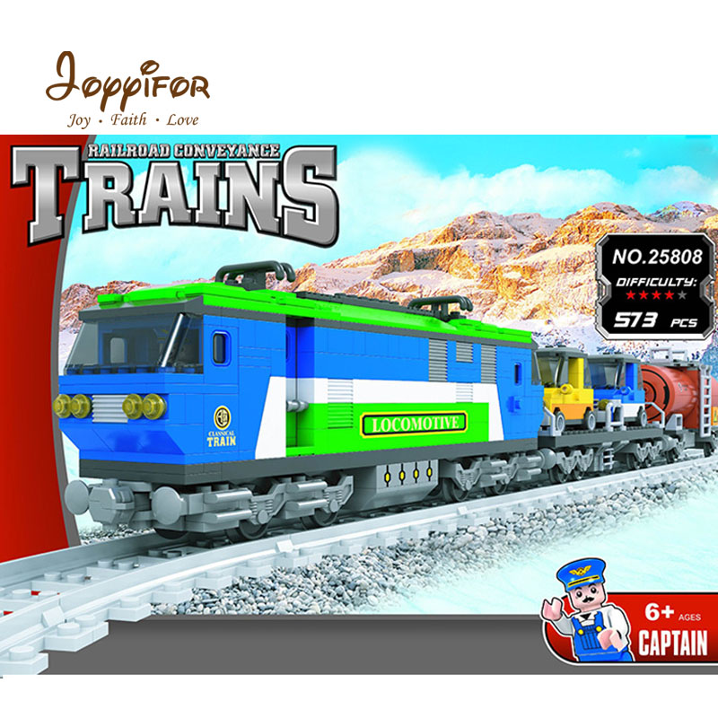 Joyyifor 573pcs Train Creator Classical Cargo Cars Model Building Blocks Bricks Railway Toys Compatible With LegoINGlys for Kids