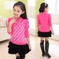 A primavera eo Outono Desgaste das Crianças Novas Meninas Rendas Coreano T-shirt de Algodão de Manga Longa Crianças Roupas Rosa Rosa Vermelha