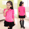 Spring and Autumn Children's Wear New Lace Girls Korean Cotton Long Sleeve T-shirt Kids Clothing Pink Rose Red