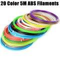 Pluma Impresora 3D material de 1 lote 20 colores 5 M ABS filamento Paquete de material de ABS Filamento 1.75mm Para Impresora 3D de Impresión de Dibujo Pluma