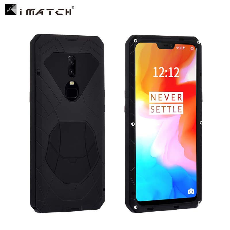 new concept 27151 4eb89 US $26.3 50% OFF|IMATCH Daily Life Mobile Phone Case For Oneplus 6 Luxury  Shockproof Metal Silicone Cover 360 Full Protection Case Cover JS0358-in ...