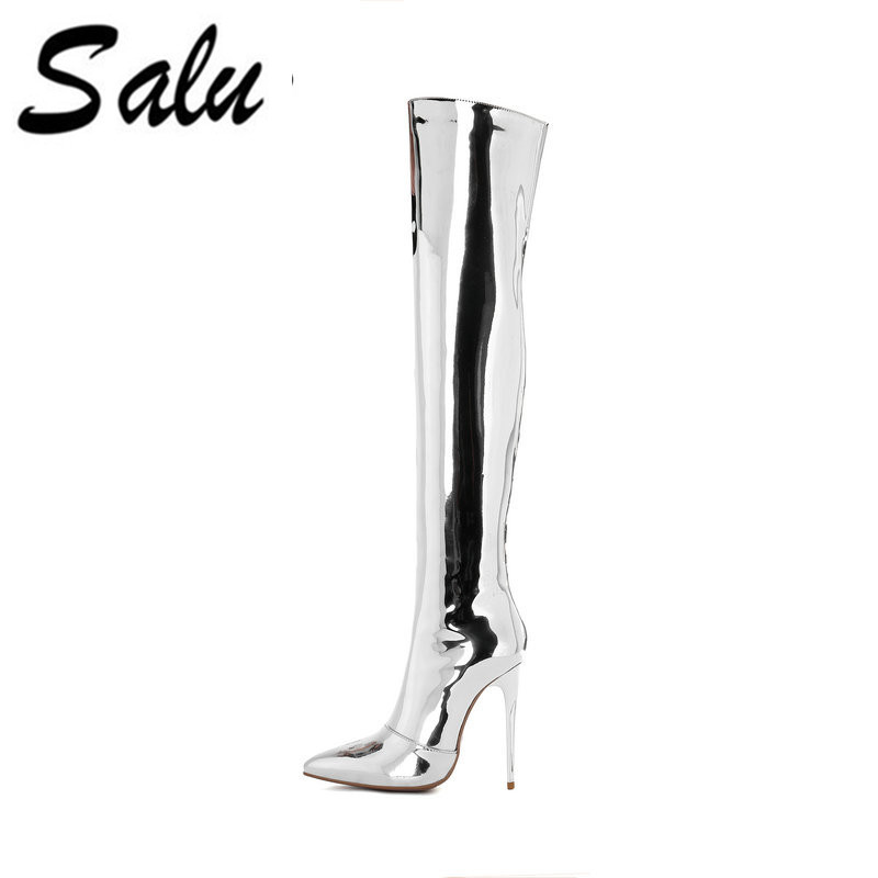 Salu 2018 Women Sexy Silver Chunky High Heel Over Ther Knee Fashion Side Zip Platform Winter Genuine leather Women BootsSalu 2018 Women Sexy Silver Chunky High Heel Over Ther Knee Fashion Side Zip Platform Winter Genuine leather Women Boots