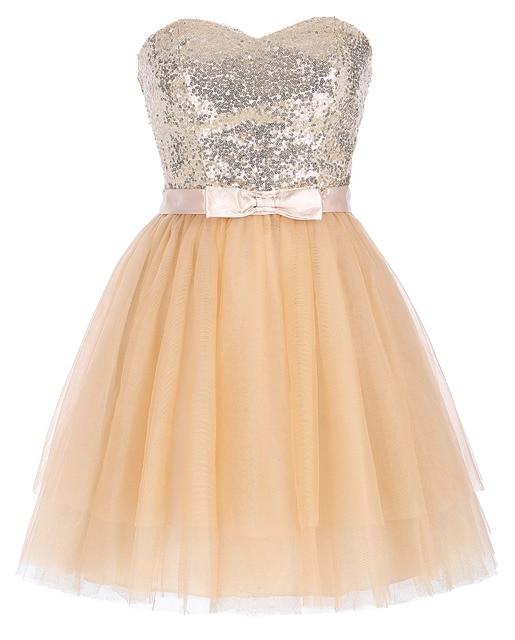 Kasin Kate Vestidos de Coctel Cortos 2017 Lentejuelas de Color Rosa de Tul Vestido de Fiesta Vestidos Para Ocasiones Especiales Albaricoque Vestido de Cóctel 0114