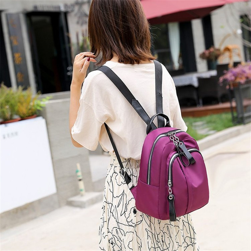 Solid Backpack Water Proof Nylon Leisure Or Travel Bag For Women Lightweight Llarge Capacity Package Rural style Shoulder Bag in Backpacks from Luggage Bags