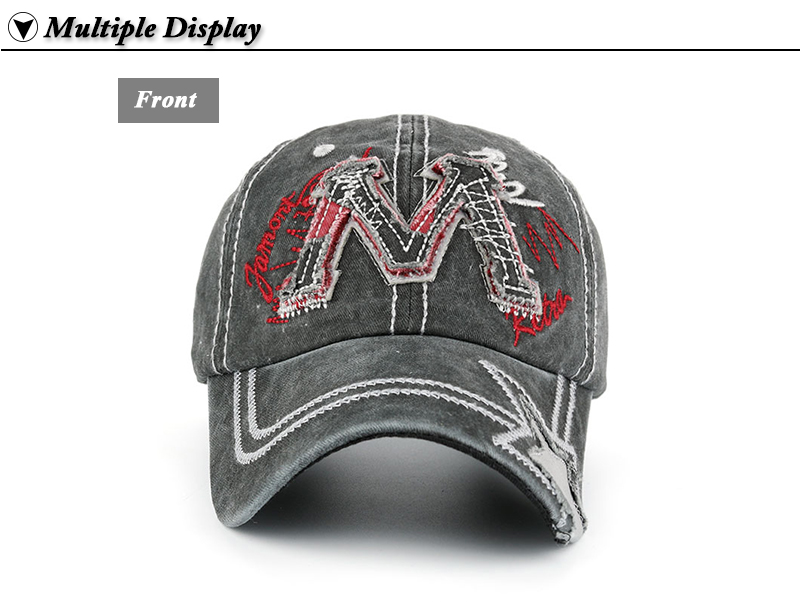 """Embroidered """"M"""" Baseball Cap - Gray Front View"""