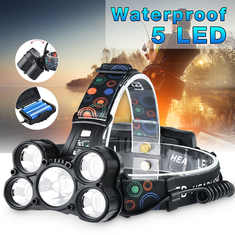 LED Headlamp 60000lm 5*T6 Fishing Headlight Bike Flashlight Torch Forehead Waterproof Head Lamp Light 18650 Rechargeable Battery 12pcs lot hunting friends super bright led headlamp rechargeable flashlight forehead waterproof headlight head flashlight torch