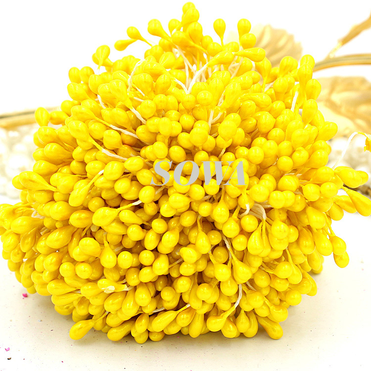 Free Shipping New Design Wholesale 5mm Double Heads Yellow Pearl Flower Stamen For Cake Decoration Free Shipping (900pcslot)