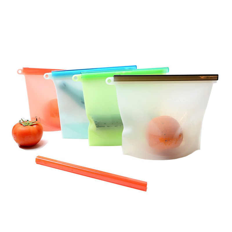 Silicone Food Bag Fresh Sealed Bags Reusable Preservation Bags Airtight Seal Storage Container Fruit Meat Ziplock Kitchen 1000ml