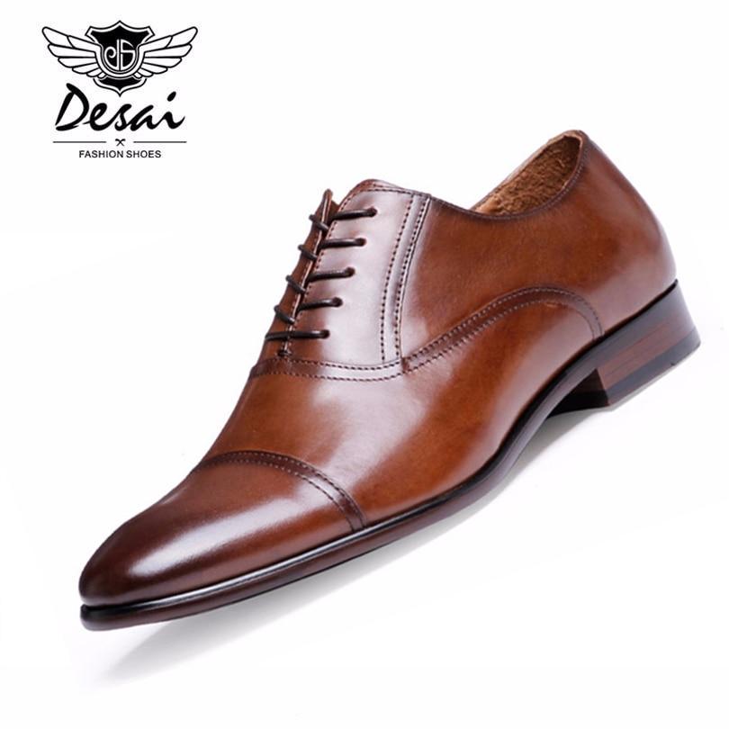 Marca DESAI, zapatos de vestir de cuero de grano completo para hombres, zapatos Retro de charol Oxford para hombres, tallas UE 38-47