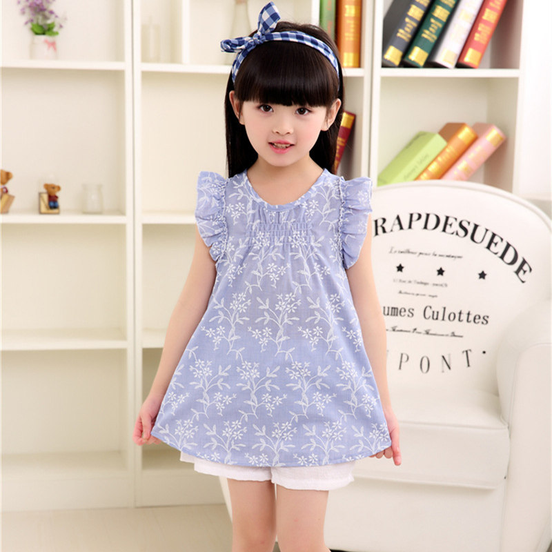 Summer 2017 Linen Girls Dress Baby Flower Sleeve Dresses For Girl Children Clothing Vestido Infantil Kids Cute Sundress Costume girl dress 2 7y baby girl clothes summer cotton flower tutu princess kids dresses for girls vestido infantil kid clothes