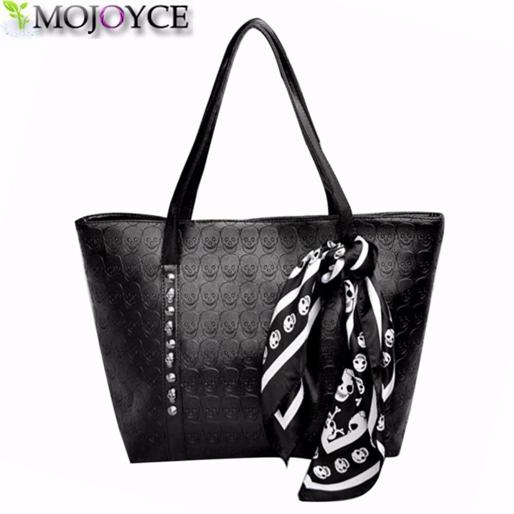 AC 2018 Hot PU Leather Women Skull Bag Female Solid Punk Shoulder Bag Fashion Soft Women Handbags Black Large Ladies Tote Bag