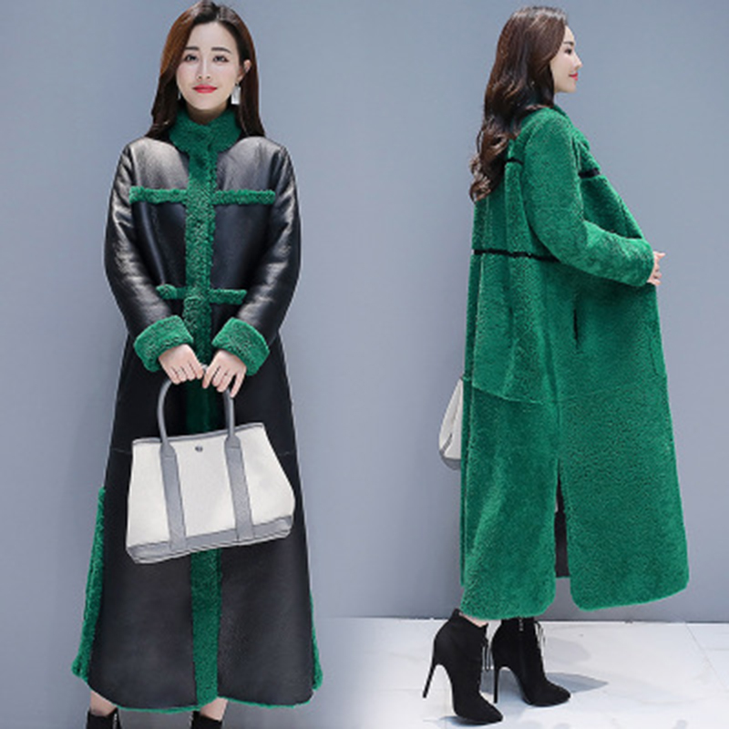 2019 New Winter Women Lamb Fur Coat Loose X- Long Coat Two Side Wearing   Suede   Overcoat Faux   Leather   Fur Coats Plus Size 3XL