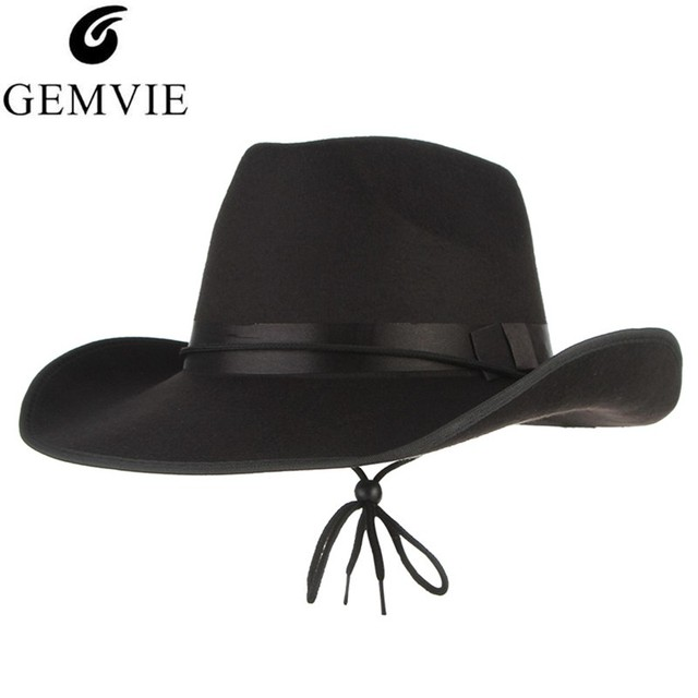 e437d96ad US $8.46 8% OFF|4 Colors Vintage Western Cowboy Hats For Men Wide Brim Sun  Visor Cap Sombreros Autumn Winter Felt Hat Male Cowboy Caps-in Cowboy Hats  ...