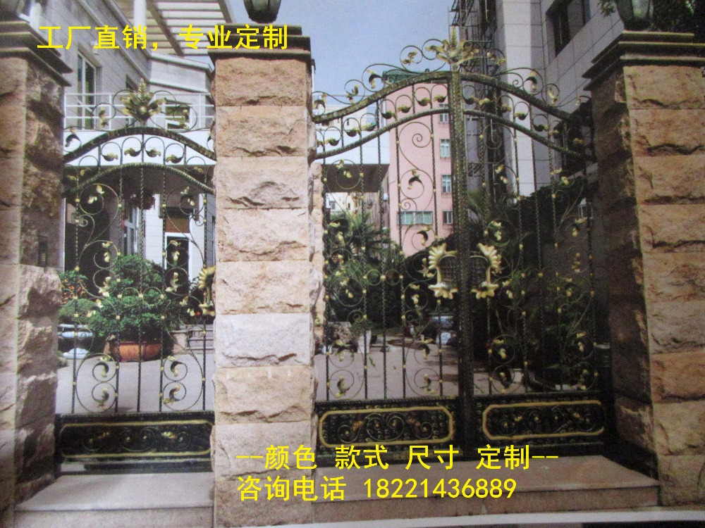 Custom Made Wrought Iron Gates Designs Whole Sale Wrought Iron Gates Metal Gates Steel Gates Hc-g90