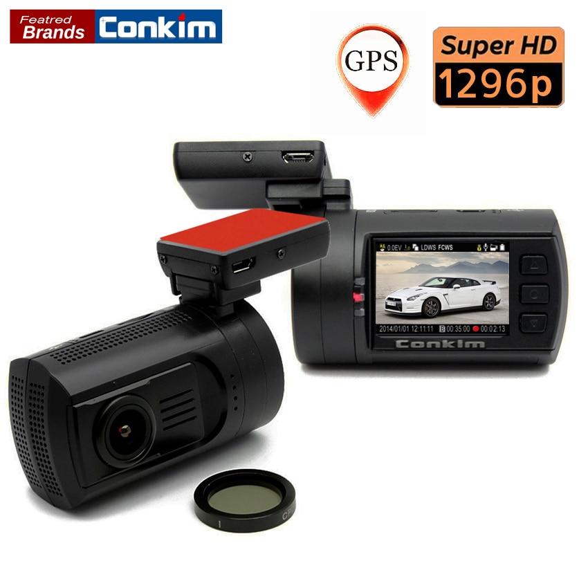 Conkim Car DVR Mini 0806 Dash Cam Camera Recorder Ambarella A7 Super 1296P GPS Registrar Car Black <font><b>Box</b></font> Dual Micro SD+CPL <font><b>Filter</b></font>