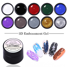 LEMOOC 3D Embossment Gel Nail Polish Carving Drawing  Painting Gel Nail Art UV Led Soak Off 5ml Professional Nail Paint Gel 3 pcs set kit lvmay brand painting gel polish nail art color 3d drawing paint curing lamp soak off professional nails top it off