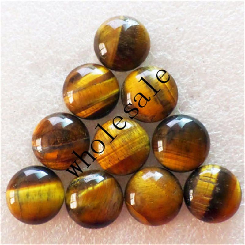 (12 pieces/lot) Wholesale High Quality Natural Tiger Eye Gem Round CAB Cabochon for jewelry Accessories 16x5mm Free Shipping