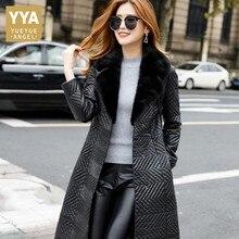 Fashion Luxury Mink Fur Collar Long Coat 100% Sheepskin Slim Fit Belt Genuine Leather Jacket Office Ladies Black Clothes Female