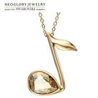 Neoglory Austria Crystal Pendant Necklace 14k Gold Plated Music Note Shape For Women Fashion Jewelry New