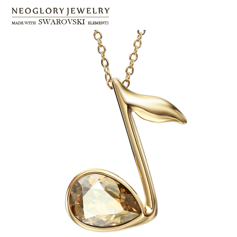 Neoglory Austria Crystal Pendant Long Necklace Light Yellow Gold Color Music Notes Shaped Lady Fashion Style Exquisite Sale