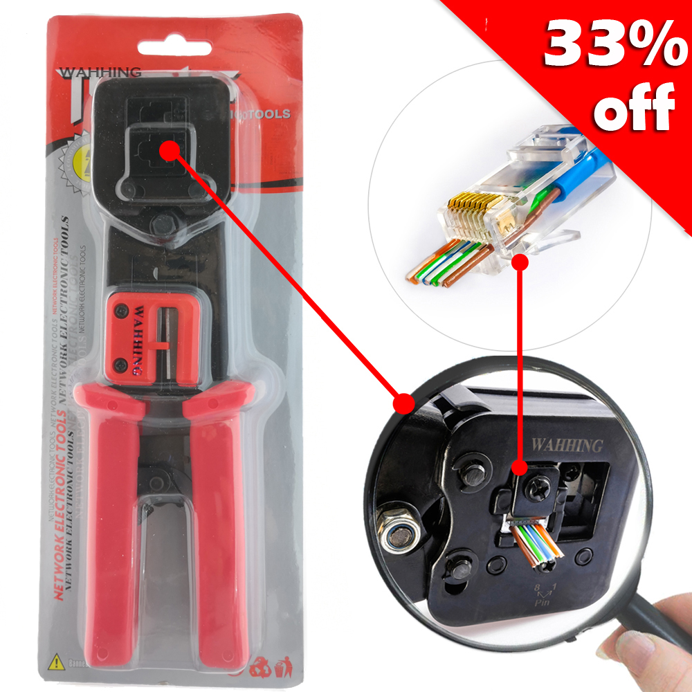 Blue Rj45 Crimper Tools Plugs Enternet Cutting Nippers Wire Cutter Plug Wiring A Or B Jack Socket New Red Networking Pliers Rj11 Crimping Cable Stripper For Cat5 Cat5e Cat6