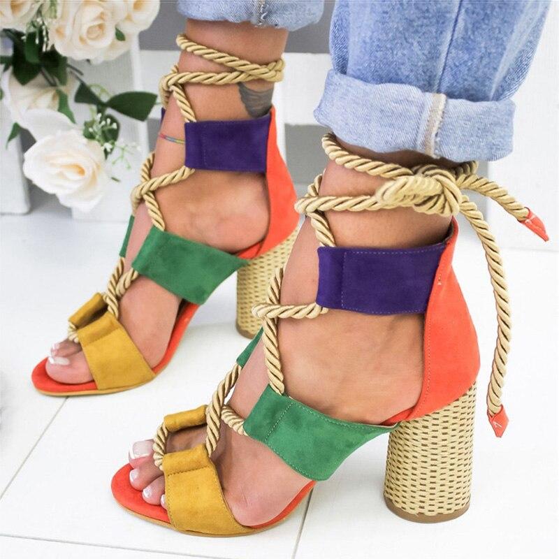 Women Sandals Peep Toe Gladiator Sandals For Women Lace Up High Heels Sandalias Mujer 2019 Summer Shoes Woman Hemp Block Heels