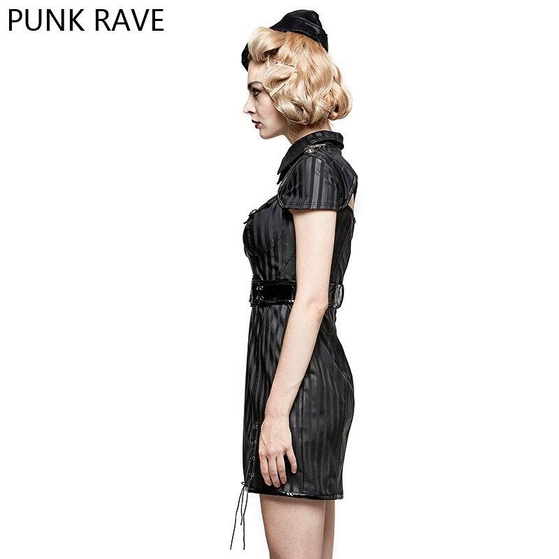 Moda militar a rayas PU uniforme Casual vestidos gótico Punk mujeres novedad Halloween Navidad vestido PUNK RAVE Q 305 - 3