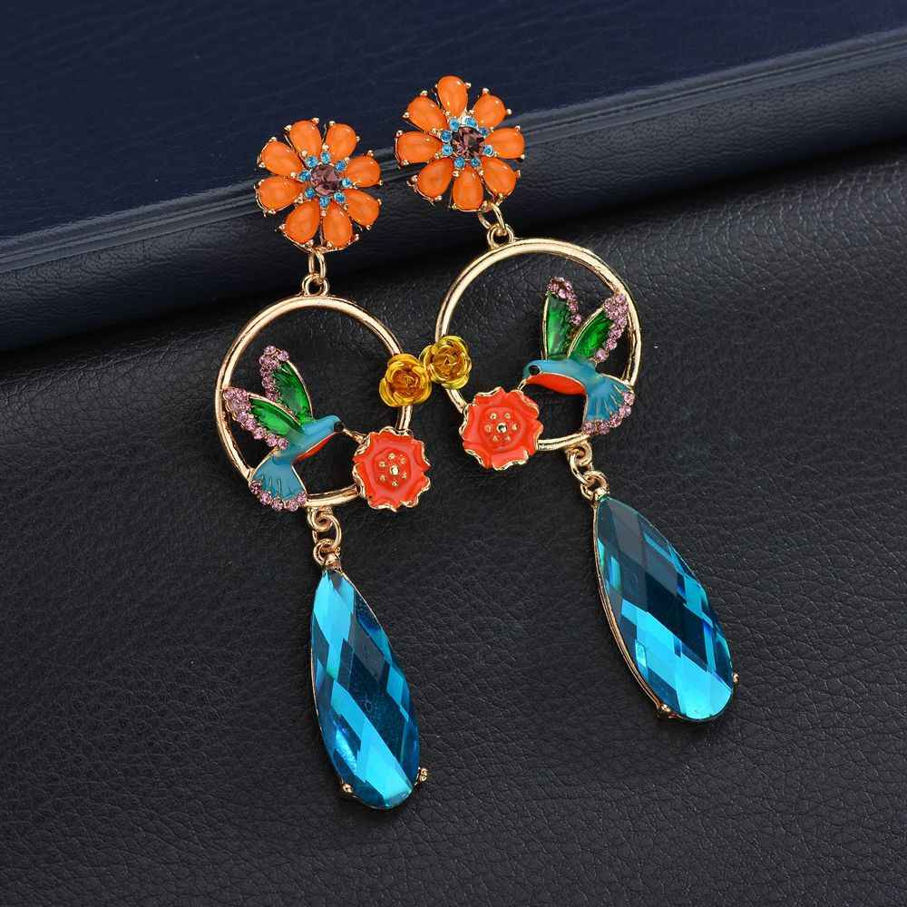 New Fashion Enamel Birds Flowers Long Drop Earrings Hot-selling Luxury Blue Crystal Eardrops Girl Statement Wholesale Jewelry.