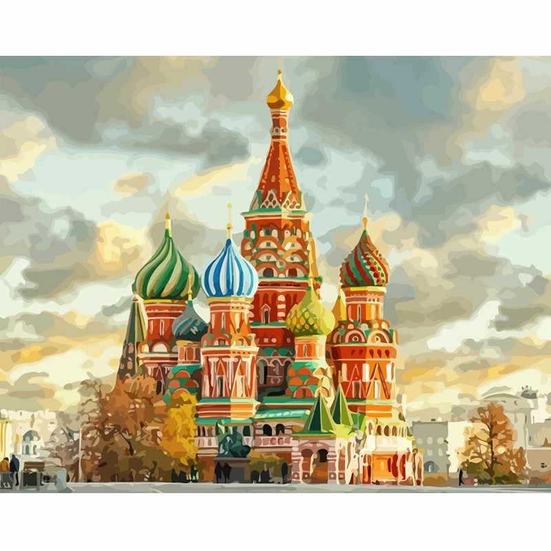 Painting By Numbers DIY Shipping Russia Landscape Picture Drawing Home Decoration Living Room Unique Gifts Decor Art 40x50cm