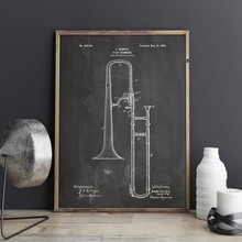 Slide Trombone Blueprint Jazz art Posters Music Room Decor Vintage Canvas Painting Wall Pictures Gift idea Music Poster(China)