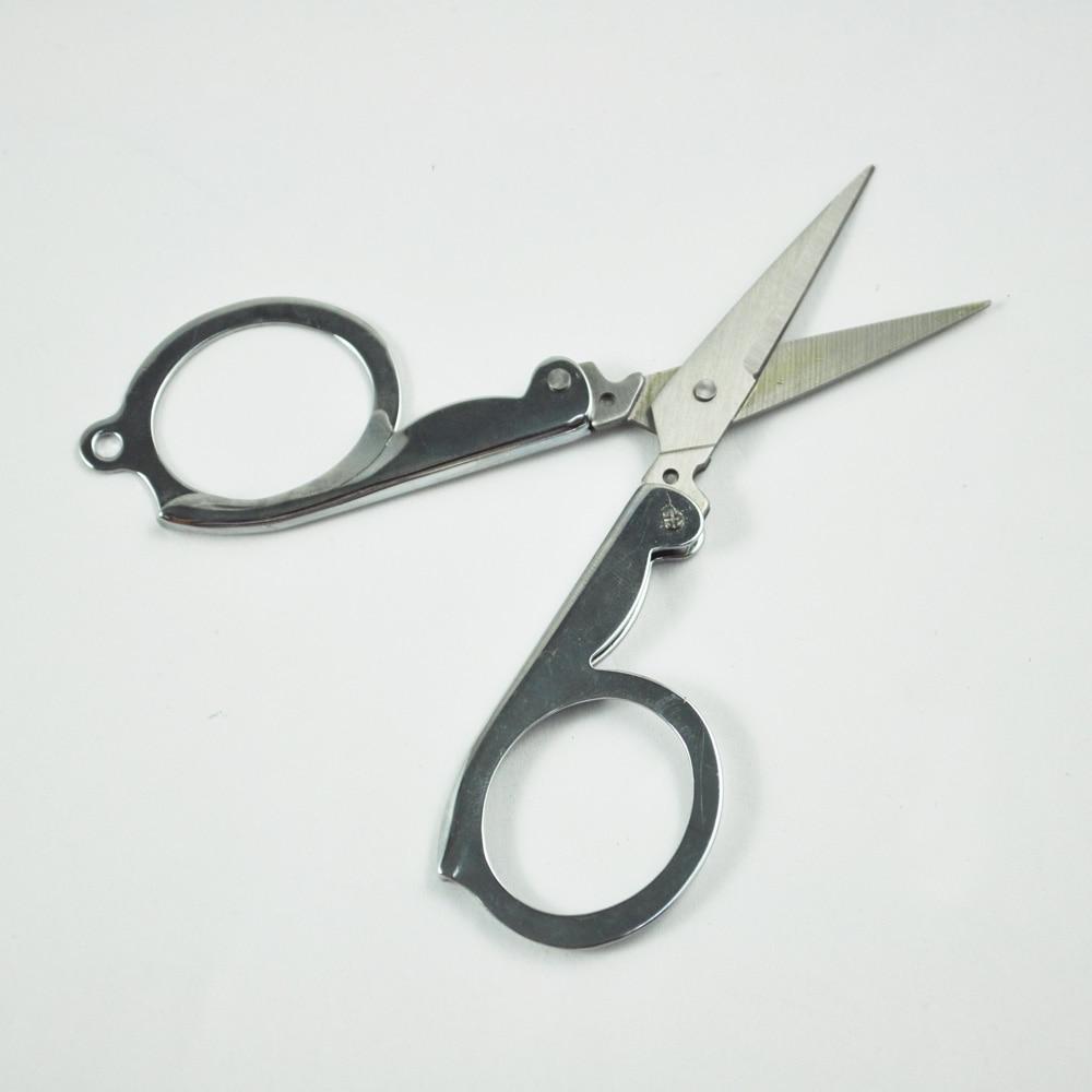 Pocket Household Office Folding Silver Metal Paper Craft Shred Scissors