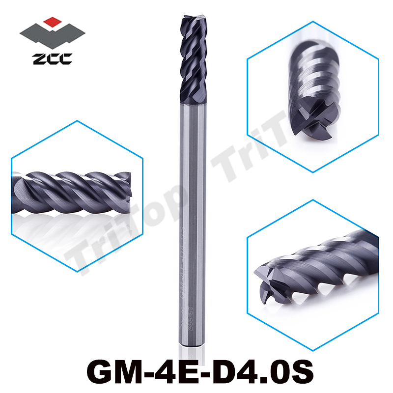 5pcs/lot  ZCC.CT GM-4E-D4.0S Cemented Carbide end mill  4 flute flattened end mills with straight shank milling cutter zcc ct gm 4el d4 0 cemented carbide 4 flute flattened end mills milling cutter