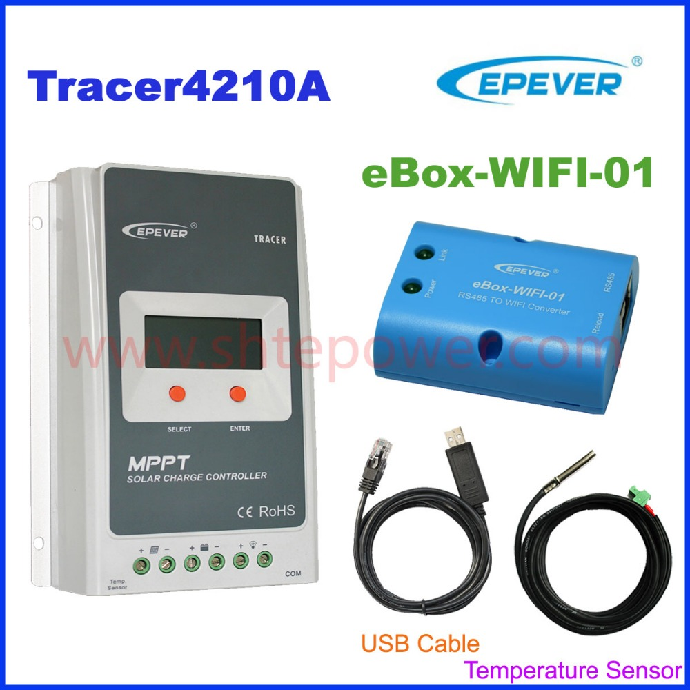 Tracer 4210A MPPT Solar Charge regulator with USB cable+temperature sensor 40A EPSolar with MT50 wifi function for APP use micro inverters on grid tie with mppt function 600w home solar system dc22 50v input to ac output for countries standard use