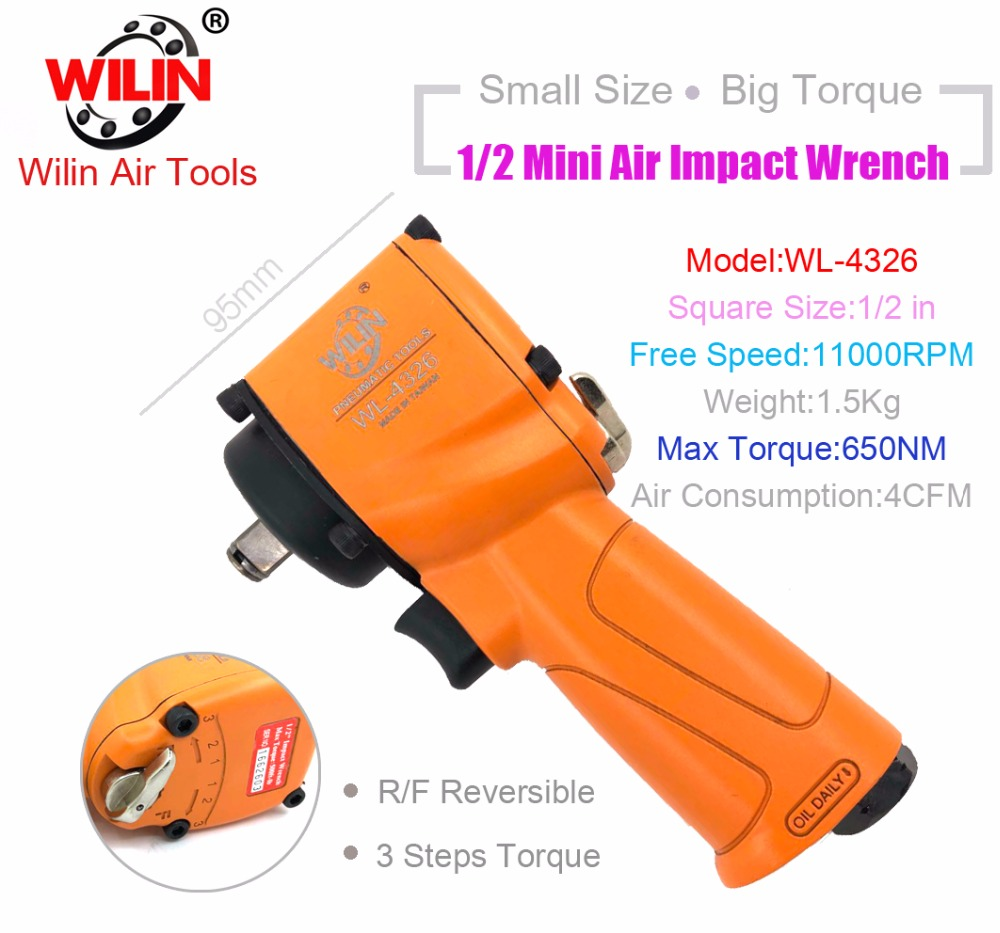 цена на Industrial Wilin Pneumatic Tools 1/2 Inch Mini Composite Air Impact Wrench 650NM Torque Twim Hammer