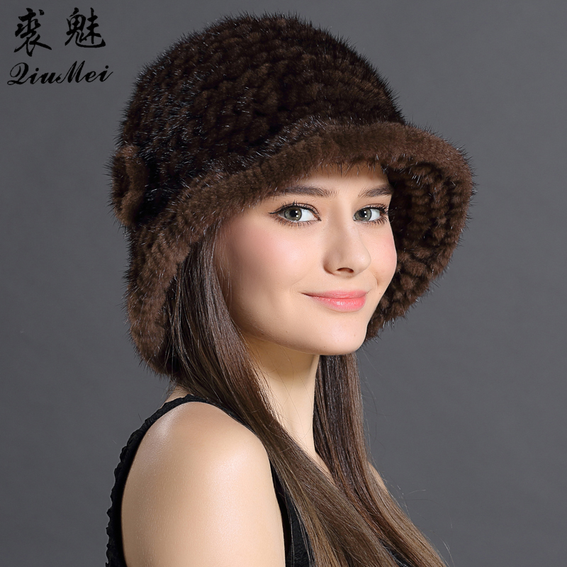 QiuMei Russian Woman Hat Winter Solid Color Caps With Flower Hat Natural Mink Fur New Soft Knitting Real Fur Beanies Hats 2018 hl112 men s real leather baseball cap hat winter warm russian one fur beret belt gatsby hunting caps hats with real fur inside