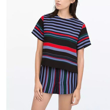 Nice Design Multi-Color Striped T-Shirts Summer Short Sleeve Casual Tee Tops Style T-Shirts Women Short Tee Clothing EM17