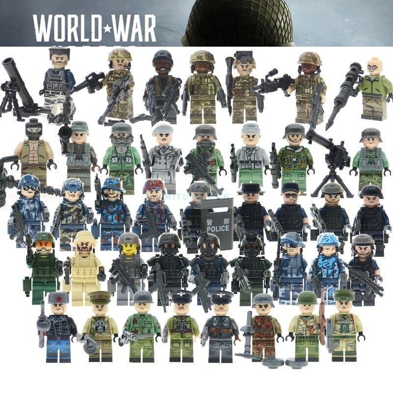 WW2 Russian Italy US germans British military army soldiers building blocks SWAT Ploice model bricks Compatible legoed kid toys