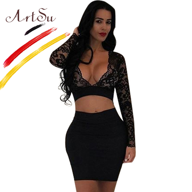 Artsu See Through V Neck Long Sleeve Lace Crop Top Mini Skirt 2
