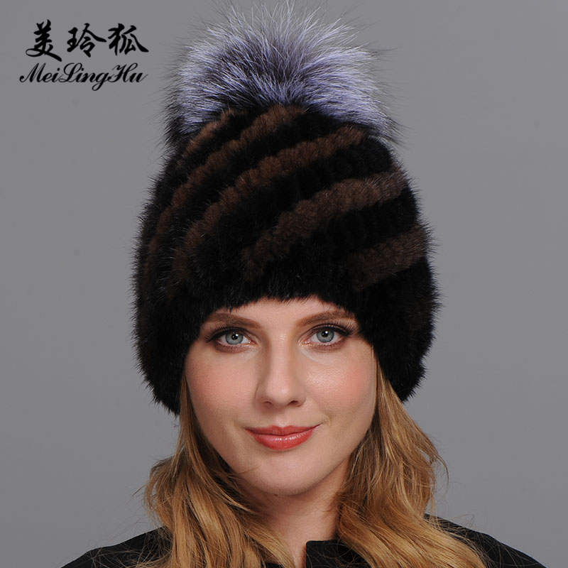 40c0739f4 Details about Winter Real Mink Fur Hats Women Warm Pineapple Cap Fox Fur  Ball On The Top Hat