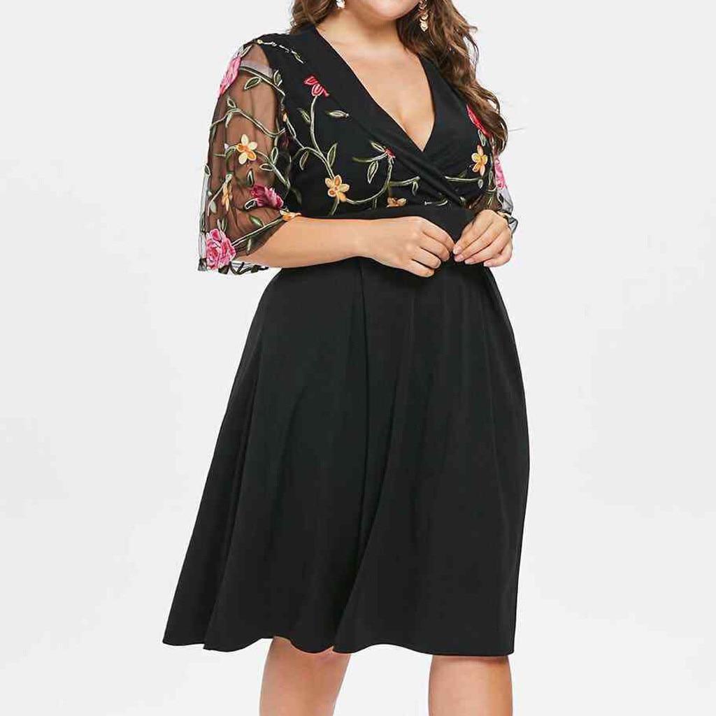 Women Casual Print Floor Women Bohemian xxxxxl Plus Size Casual xl Print Dress Lace V neck