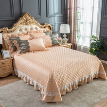 Red Pink Blue Green Gray Egyptian Cotton Luxury Lace Quilted Bedspread Bed Cover Sheet Blanket Summer Quilt Pillowcases 3pcs
