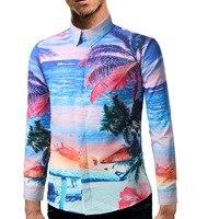 남성 여름 해변 휴가 세련된 인쇄 긴 소매 캐주얼 셔츠 미국 패션 슬림 하와이 버튼 슈 바캉스 셔츠 옴므